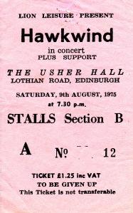 Hawkwind Ticket Stub, 1975